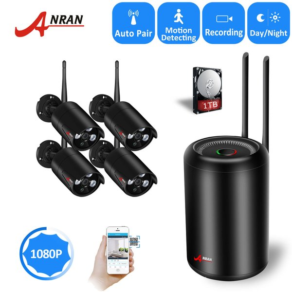 NEW ANRAN 2.0MP 4PCS Wireless IP Security Camera Waterproof Indooor Outdoor System 4CH 1080P WIFI Network NVR Hard Disk