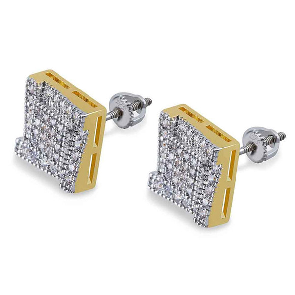2018 European and American personality square ladder hip-hop stud full of zircons double color men's Earrings