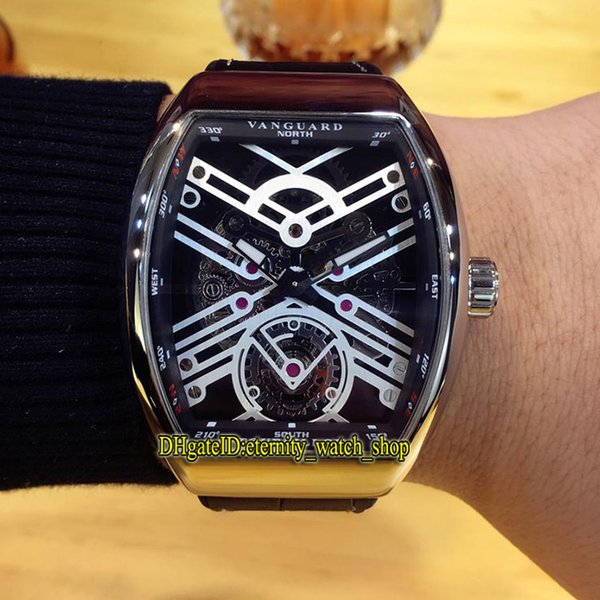 Luxry VANGUARD NEW SARATOGE V 45 T SQT BR (NR) Silvery Skeleton Dial  Automatic Mechanical Men Watch Silvery Case Leather Strap Gents Watches