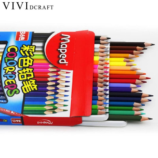 Vividcraft DIY Colored Pencils 12/18/24/36/48 Colors Painting Colour Pencil Children's School Gift Cute Drawing Pencil For Kids