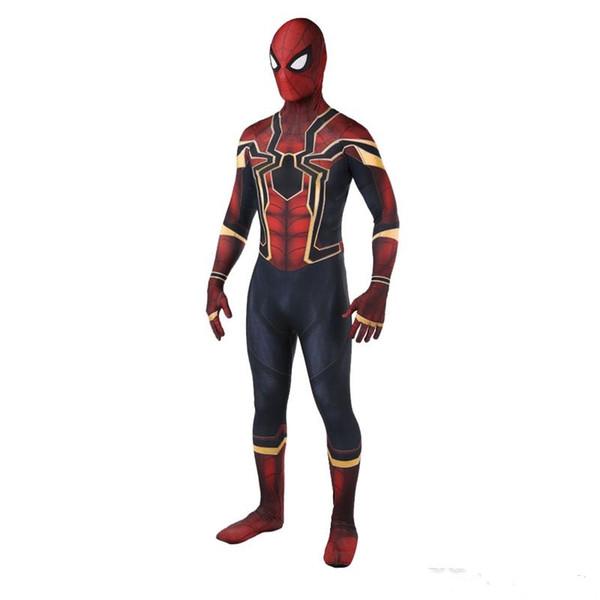Vendita calda di alta qualità Mens adulto Halloween Iron Spiderman costume Lycra zentai Superero Tema Costume cosplay completo Suit Suit