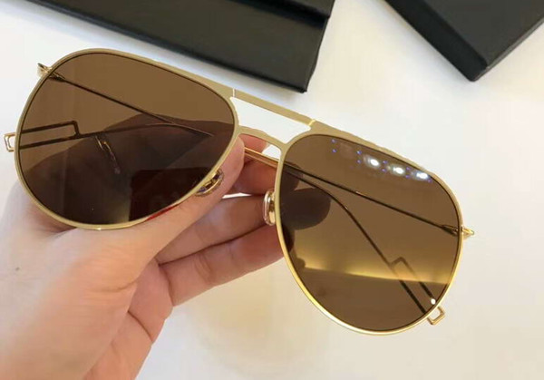 Mens 0205s Metal Pilot Sunglasses Gold Lens 58mm Designer Sunglasses Fashion Sun Glass Eeywear Outdoor New with box
