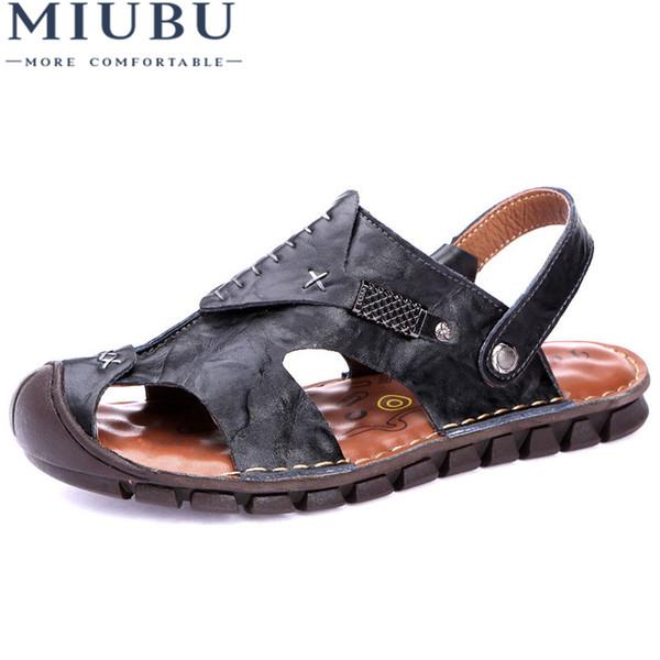 Großhandel Miubu Echtes Leder Männer Sandalen Schuhe Sommer Männer Strand Schuhe Mode Männlichen Sandale Sommer Leder Sandalen Hausschuhe Von