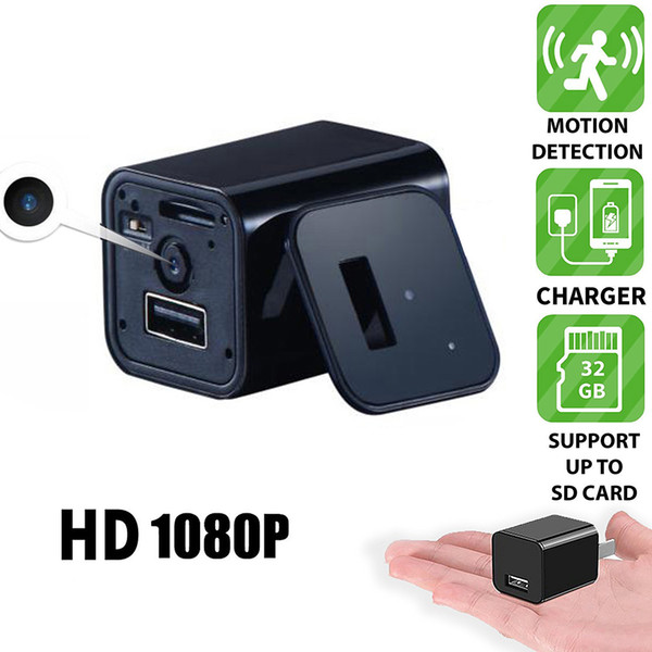 Caricatore da parete CA CA della presa della videocamera DVR con presa mini HD 1080P US / EU Telecamera con adattatore USB Telecamera portatile con telecamera di sorveglianza DVR
