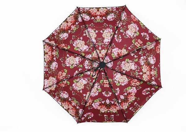 Newluxury Classic pattern Carta con estilo logo Key auto Umbrella para mujer 3 veces paraguas de lujo con gran bolsa Rain Umbrella VIP party gift
