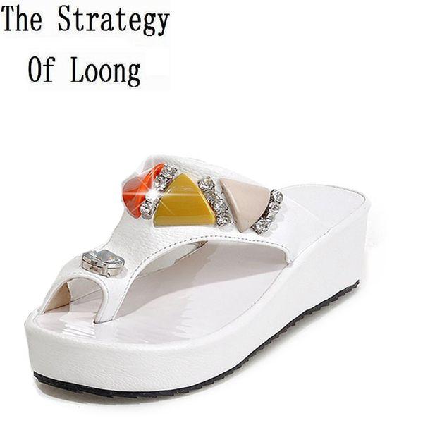 Rhinestone Wedges Chunky Heel Flip Flops Black White Women Summer Slippers Crystal Lady Sexy Slipper Shoes 34-39 SXQ0505