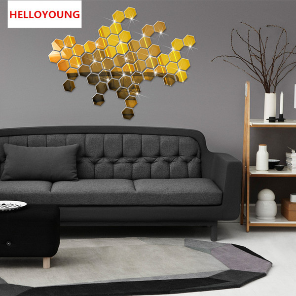 DIY 8 x 8cm x 18 pcs Honeycomb Crystal Square Mirror Stickers Reflective Decal for Wall Adhesive Wallpaper Decoration