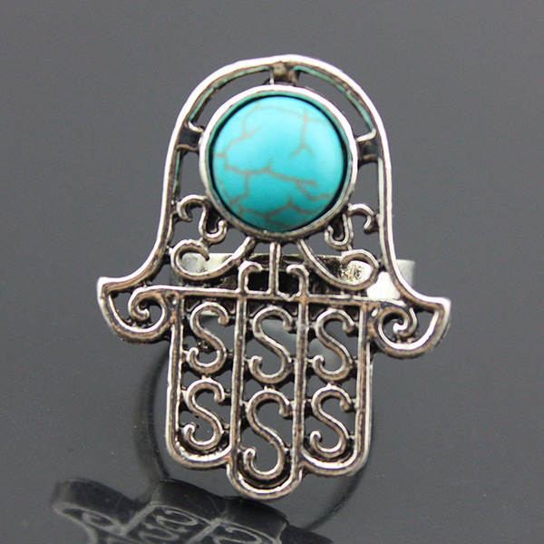 SENHUA Wholesale lots 20pcs Vintage Silver Five Hand Of Fatima Hamsa RINGS Amulet Evil Eye Turquoise Opening Rings for men women' Gifts MR79