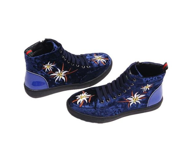 2018 new Style Autumn Embroidery High Top Breathable Men Shoes Casual Sneakers Fashion Korean Students Hip Hop Male Footwear J240