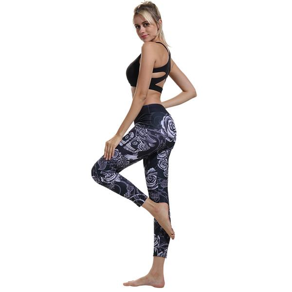 Women Leggings Para Mujeres Sports Gym Tights Skull Black Rose Woman Sportswear Leggings Fitness Casual Slim Yoga Pants CK2264