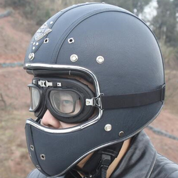 New Synthetic Leather Motorcycle Helmet Retro Vintage Cruiser Chopper Scooter Cafe Racer Moto Helmet Full Face