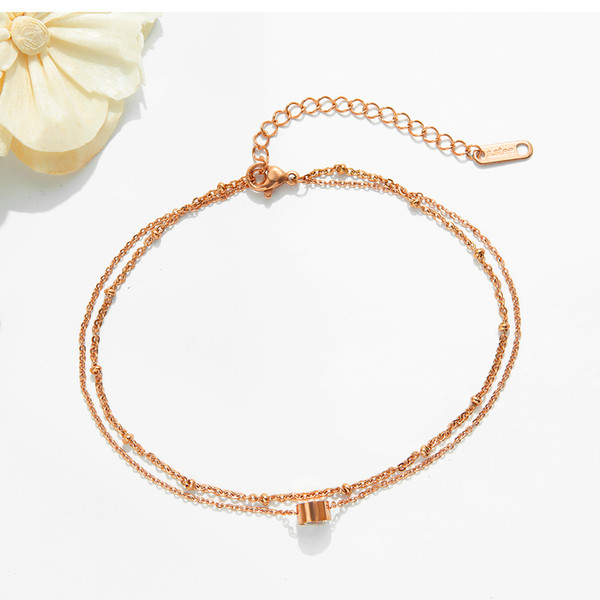 High quality women's anklet fashion titanium steel rose gold color double rhinestone girl anklet holiday gift