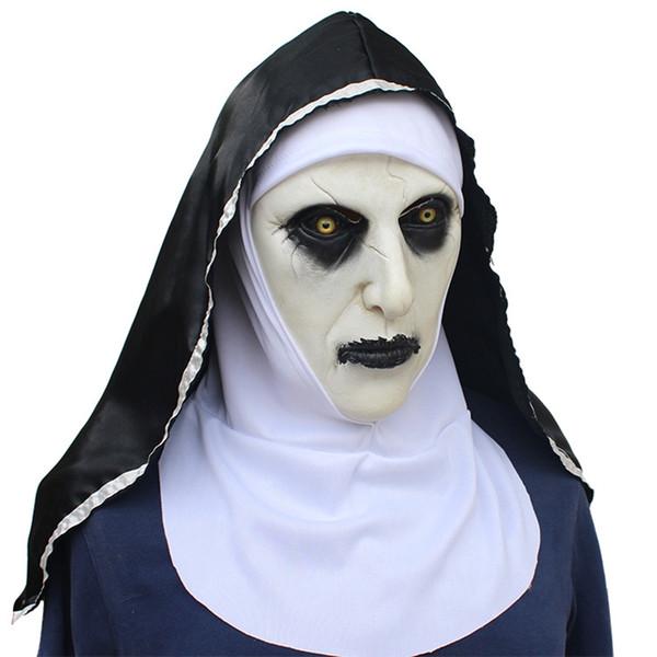 The Nun Horror Mask Cosplay Valak Scary Latex Masks Headscarf Veil Hood Full Face Devil Nun Helmet Costume Halloween Props