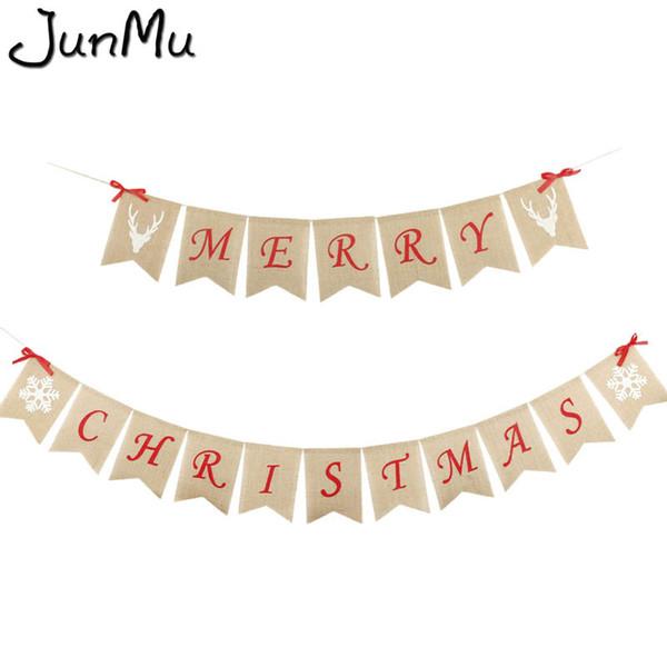 New Style Merry Christmas Burlap Bunting Banner Hanging Garland Xmas Hanging Decor