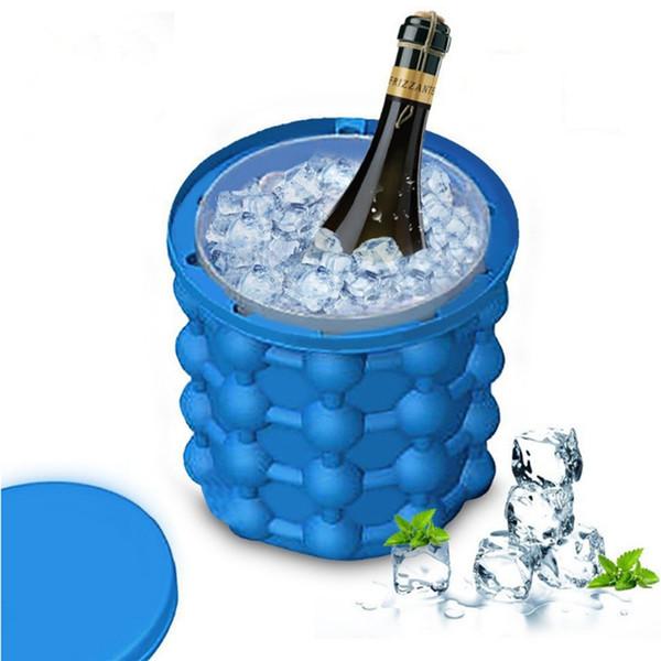 새로운 디자인 실리콘 아이스 큐브 제조기 지니 맥주 쿨러 도구 주방 액세서리 가제트 생일 파티 장식 웨딩 테이블 중심.