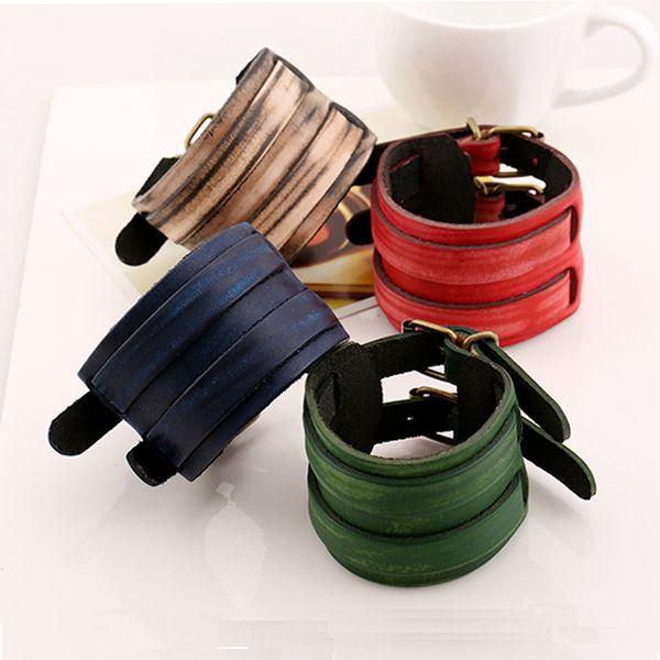 Double Belt Leather Wrist Men Punk Rock Leather Bracelets Adjustable Gothic Mens Cuff Bangle Bracelet 7 Color