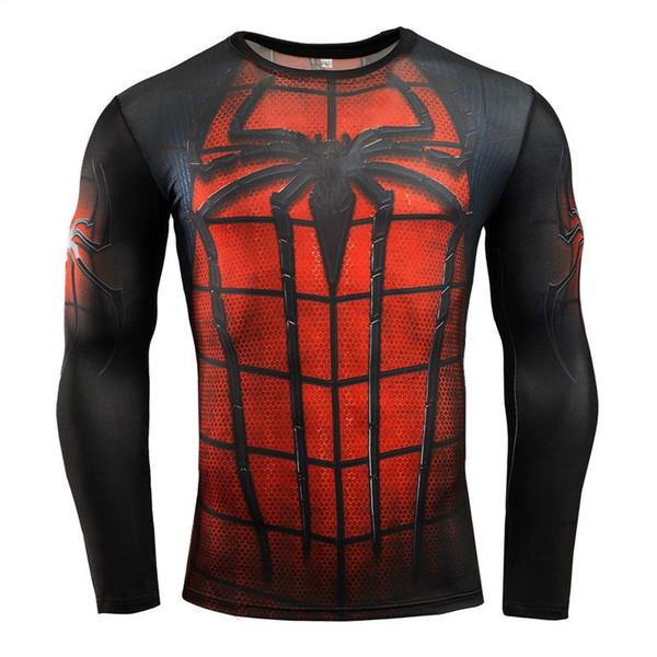 Erkekler Moda T-shirt 2017 Uzun Kollu Döküntü Guard Komple Grafik Sıkıştırma T-shirt Çok kullanımlı Vücut Geliştirme MMA Gömlek Tops