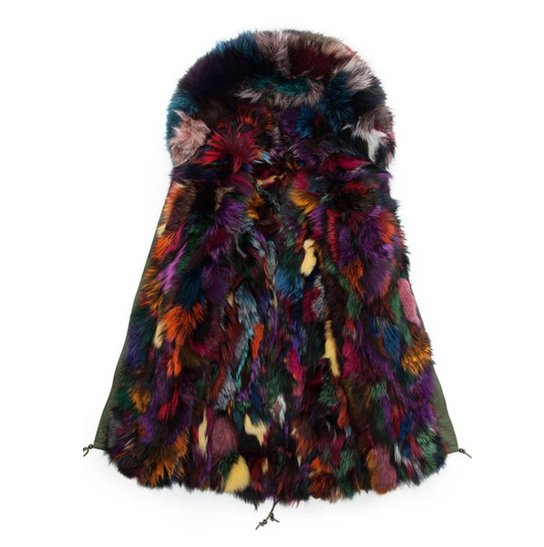 Colorful Fox Fur Parkas Long Style Fur Collar & Hooded Mens Real Mulitcolor Jacket Outwear Winter Mr&Mrs Wear