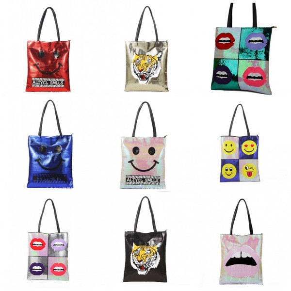 High End Women Tote Bag Emoji Lips Tiger Design Handbag Casual Large Capacity Mermaid Sequins PU Storage Bags Luxury 35bk BB