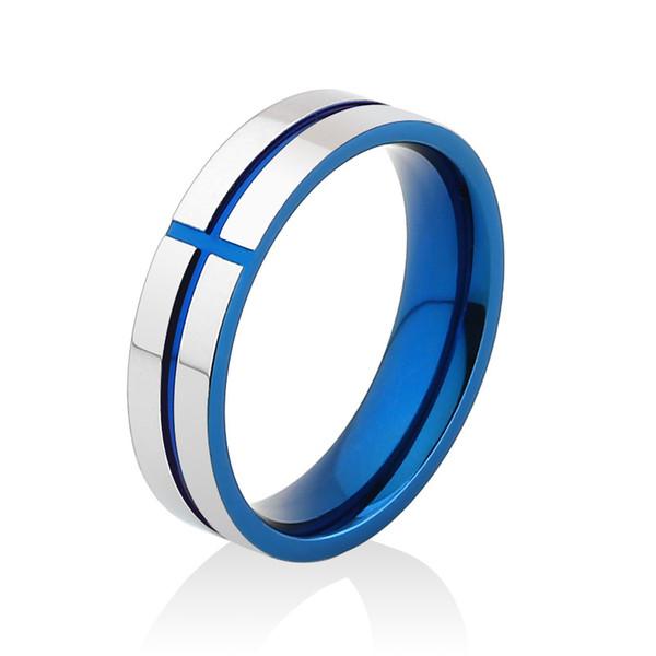 Moda acciaio inossidabile Jewlery Uomo anelli blu placcato oro con croce modello punk anello shinning per uomini ragazzi