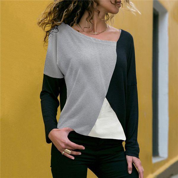 Herbst Winter Langarm Frau T-shirt Top 2019 Casual Patchwork Pullover Lose T-shirt Streetwear Baumwolle T-shirt Femme Tunika