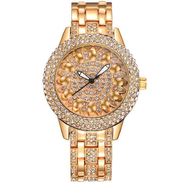 BAOSAILI Klassische Lotus Strass Legierung Armband Edelstahl zurück Fall Armbanduhr für Frauen Mode Armbanduhr