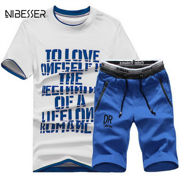 NIBESSER Men Tracksuit Letter Printed Male Fitness Suit 2018 New Mens T Shirt Short Sleeve+ Short Pants Track Suit For Male Tee