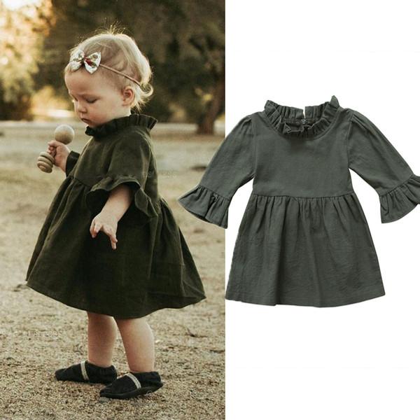 Autunno Baby Girl Princess Dress Three Quarter Solid Verde Army Ruffle Sleeve Dolcevita Ruffle Tutu Dress Vestiti delle ragazze 0-4Y
