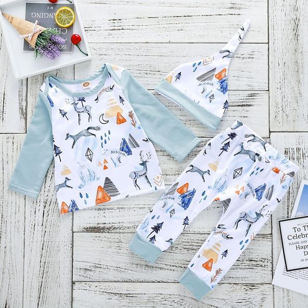 Baby Deer Bear принт с длинными рукавами наряды 2018 Baby Boutique Одежда Euro America Горячие Продажа Младенческая малышей футболки + брюки 2 шт. Набор