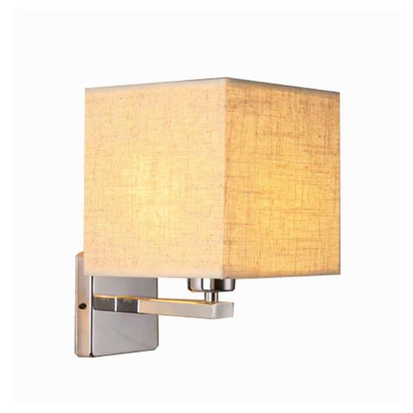 Moderna lampada da parete a led da comodino camera da letto hotel scala applique illuminazione in acciaio inox nero bianco paralume in tessuto paralume
