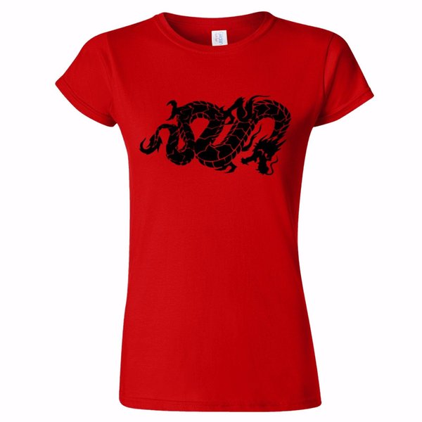CHINESE DRAGON SNAKE TATTOO STYLE ART WOMENS T SHIRT LUCK CANTONESE SYMBOL