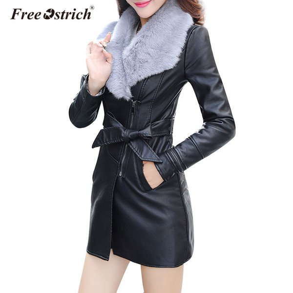Free Ostrich Pu Leather Jacket 2018 Autumn Winter Fashion Women's Slim Clothing Zipper Black Long Ladies Jackets Coats D40 S18101203