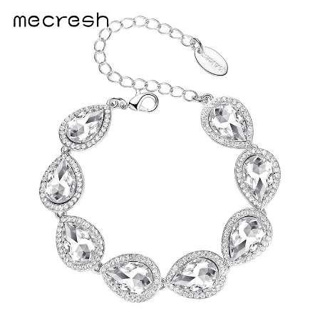 Mecresh Champagne/Silver Color Bracelets For Women Crystal Wedding Bridesmaid Pulseiras Jewelry Girls Party Christmas Gift SL051