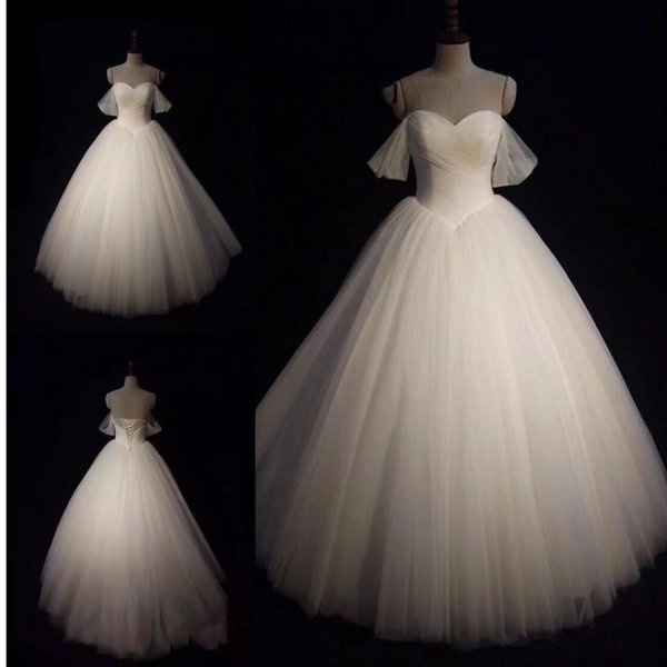 Elegant Custom Made Tulle Ball Gown Wedding Dresses Sweetheart Off Shoulder Lace Up Bridal Dresses Fashion Wedding Gowns 228