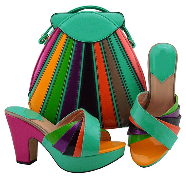 Fashionable spring green and colorful women pumps with a big bag set african shoes match handbag for dress MD008,heel 10.5CM
