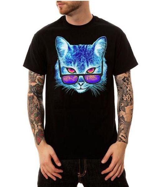 Gezeiten Marke Marke spuerm, europäischen und amerikanischen Männer großen Code plus Dünger erhöhen 3D Augen Katze runden Kragen lose T-Shirt