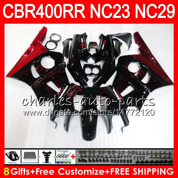 Kit For HONDA CBR400 RR NC23 CBR400RR 88 89 90 91 92 93 80HM.3 CBR 400 RR NC29 Red flames CBR 400RR 1988 1989 1990 1991 1992 1993 Fairing