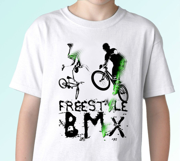 Freestyle BMX - white t shirt top design - mens womens kids baby sizes 100% Cotton Print Mens Summer O-Neck