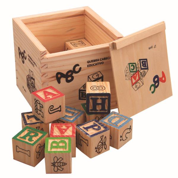High Quality 27pcs/set Imaginarium Discovery Wooden Alphabet & Numbers Building Blocks Wooden Letter Bricks Blocks Toys For Kids