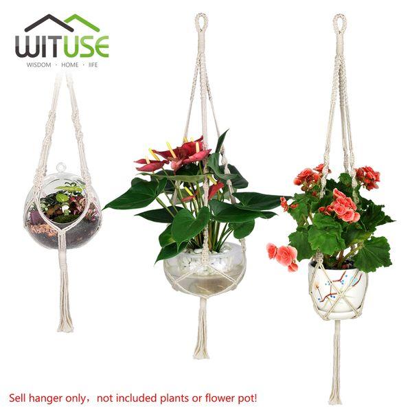 Wituse 3x Macrame Plant Hanger Cotton Handmade Hanging Rope Patio Garden Plant Basket Pot Hanger For Home Garden Decor 29 /36 /46 &Quot ;