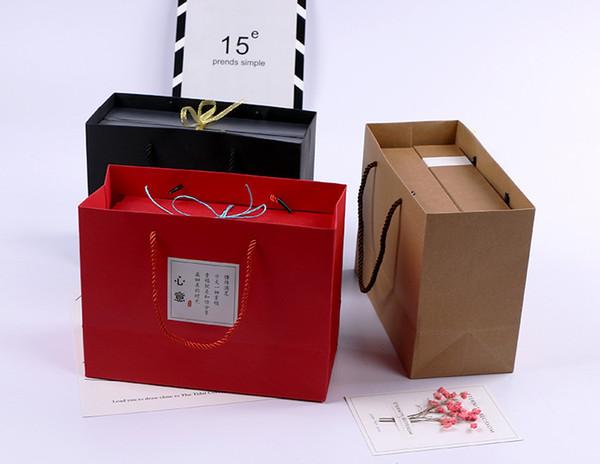 Kraft Paper Gift Bag with Handle 25x11.3x19cm Mooncake Egg-Yolk Puff Nougat Bag Shopping Bags wen6961