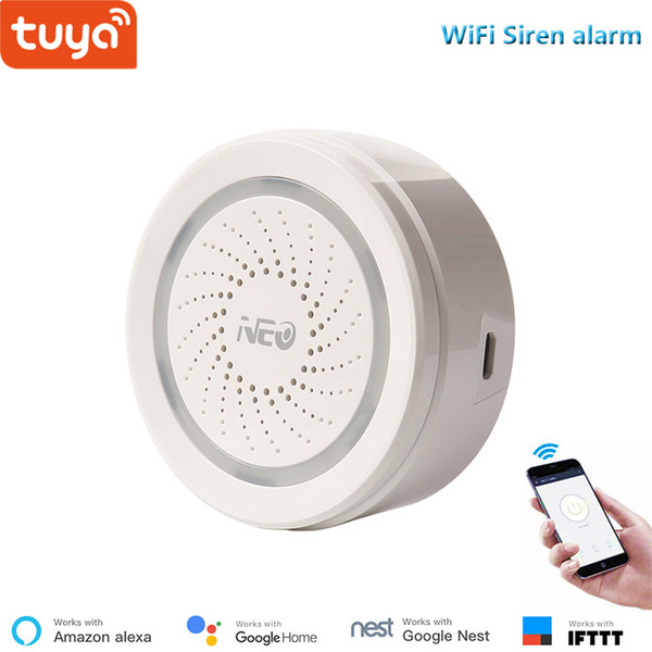 Tuyasmart home security wifi Siren alarm make sound and light when triggere free APP compatible with Alexa and googlel home