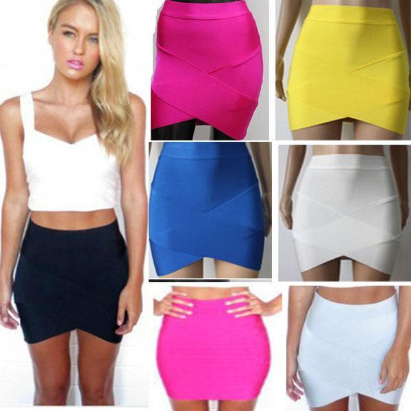 Modphy Bandage Rayon Bonne Élastique Femmes Jupes Mini Sexy Slim Crayon Clubwear Convient Noir Gris Rose Vert HL135-2