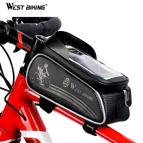 Bicycle Bike Front Pannier Dual Pouch Saddle Tube Bag 6 Inch Phone Holder Pocket