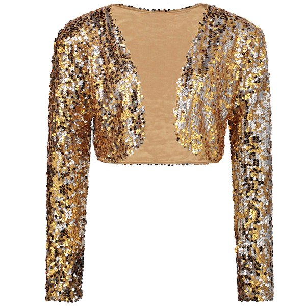 Sparkly Sexy Women Sequin Cardigan Jacket Coat Long Sleeve Short Cropped Bolero Shrug Clubwear Vintage Party Costumes Y18110501