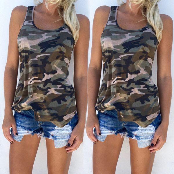 Mulheres Casual sem mangas camuflagem Tops Vest Camo Camisas Plus Size