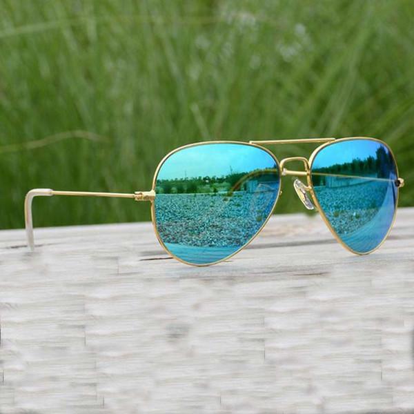Raggaeon Glass lenses sunglasses women High quality uv400 brand design pilot man sun glasses blue Lunettes Retro Fashion Beach