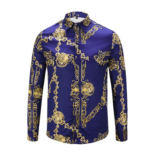 2018 Brand New Luxury Medusa chemise pour hommes Slim Fit chemises en coton pour les hommes impression noire Fashion casual Business tops vêtements sociaux
