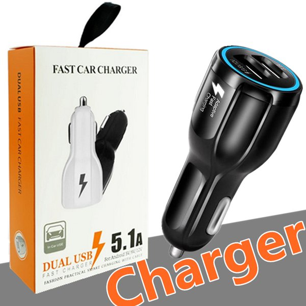Car USB Charger Quick Charge Mobile Phone Charger 2 Port USB Fast Car Charger for iPhone Samsung Tablet Car-Charger with Retail package