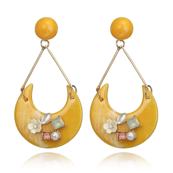 Tocona Fashion Colorful Geometric Circle Pearl Crystal Flower Acrylic Drop Dangle Earrings for Women Statement Jewelry 6472